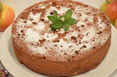 Воздушный пирог с яблоками на кефире рецепт с